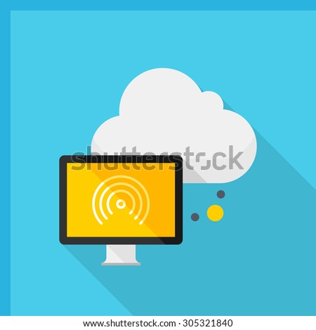 Cloud network icon, vector illustration. Flat design style with long shadow,eps10