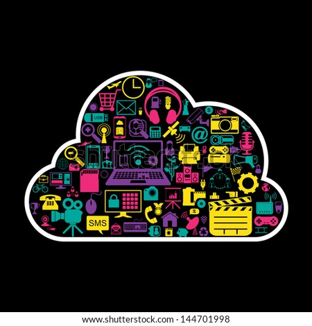 cloud network icons - stock vector