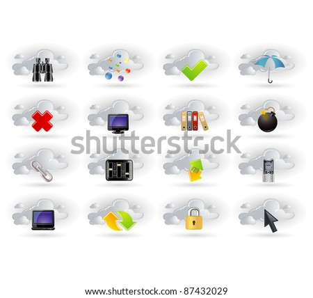 cloud network icons set - stock vector