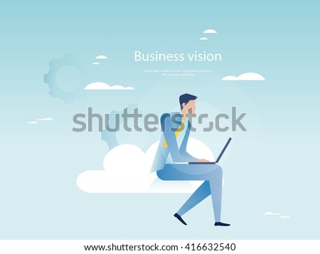 Cloud networking concept. Businessman working on laptop - stock vector