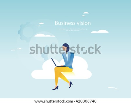Cloud networking concept. Businesswoman working on laptop - stock vector
