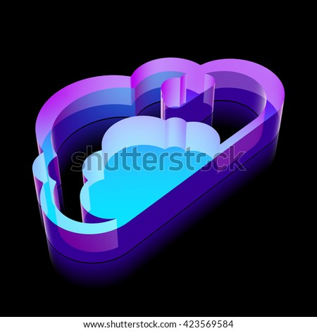 Cloud networking icon: 3d neon glowing Cloud made of glass with reflection on Black background, EPS 10 vector illustration. - stock vector