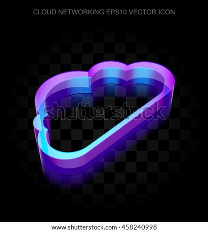 Cloud networking icon: 3d neon glowing Cloud made of glass with transparent shadow on black background, EPS 10 vector illustration. - stock vector