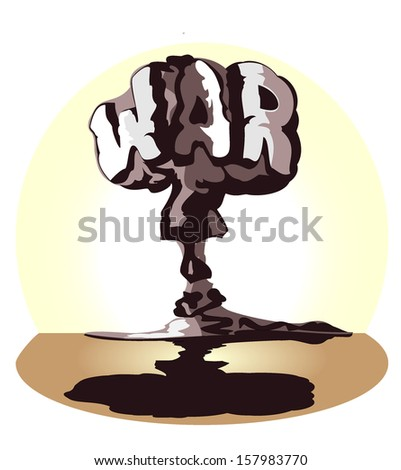 cloud of atomic explosion in form word war. vector illustration - stock vector