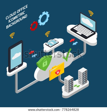 cloud office and technology isometric background with database symbols vector illustration