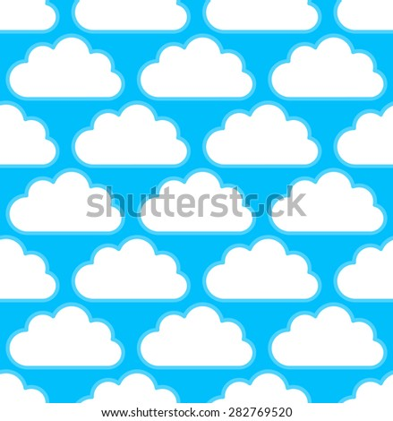 Cloud pattern with white round, cumulus clouds over bright blue, teal. Seamlessly repeatable.