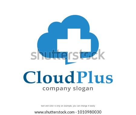 Cloud Plus Logo Template Design Vector Stock Vector 1010980030
