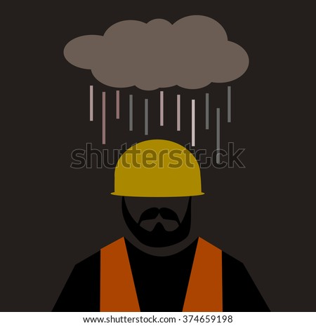 cloud raining on construction worker