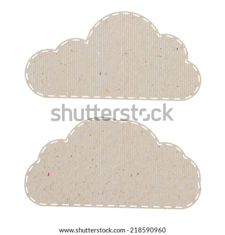 cloud recycled paper craft on white paper background, vector illustration   - stock vector