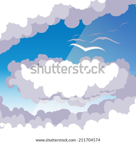Cloud scape with seaguls - stock vector