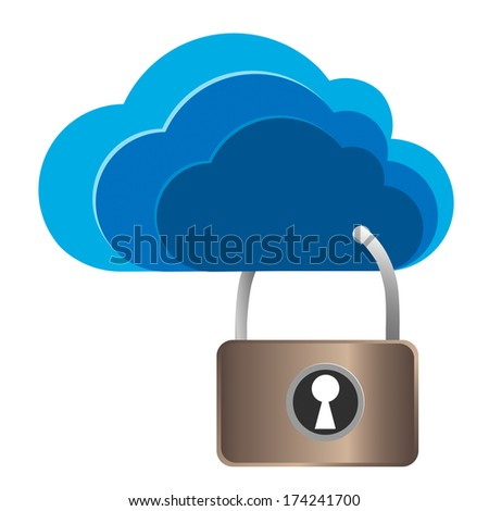 cloud security lock, concept of cloud computing, network logs. vector illustration