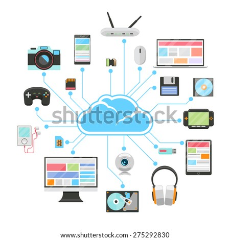Cloud server and sync of electronic devices. Tablet and phone, smartphone and flash, hard drive and card memory, vector illustration - stock vector