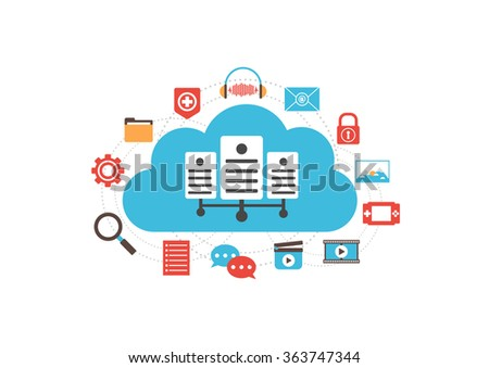 cloud server with media icon, online technology, isolated on white background - stock vector