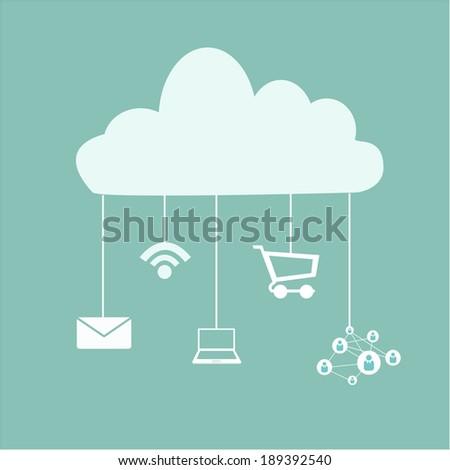 cloud service applications - stock vector