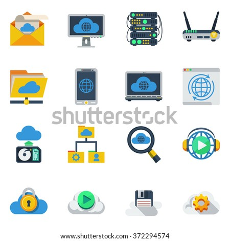 Cloud service flat color icons set of router smartphone laptop hub diskette sim card isolated vector illustration  - stock vector