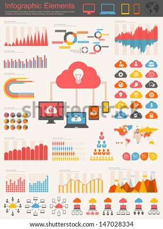 Cloud Service Infographic Elements - stock vector