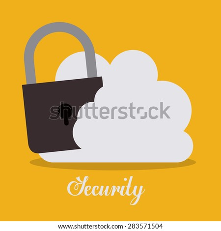 Cloud services design over yellow background, vector illustration