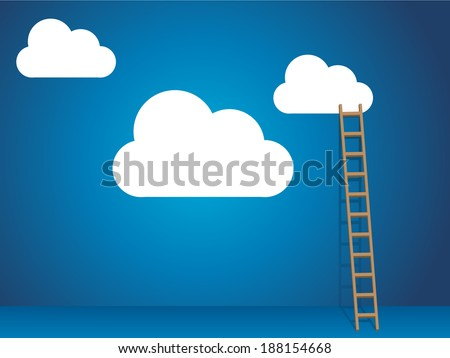 Cloud services with cloud and ladder - stock vector