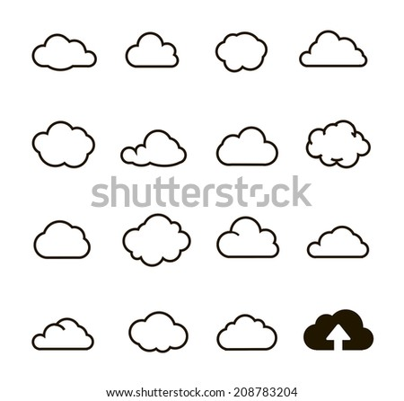 Cloud shapes collection. Cloud icons for cloud computing web and app.  - stock vector