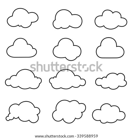 Cloud shapes collection outline icons stock vector 2018 339588959 cloud shapes collection outline icons voltagebd Choice Image