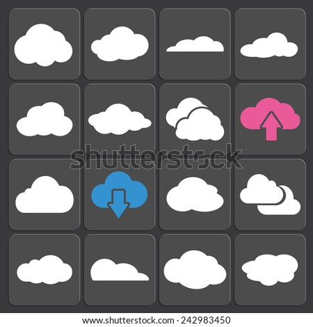 Cloud shapes vector set, cloud icons for cloud computing for web and app