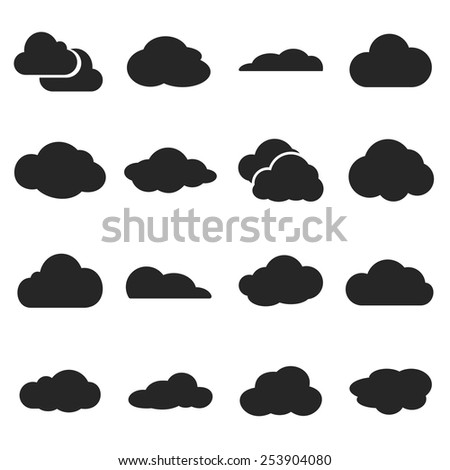 Cloud shapes vector set, cloud logo icons for cloud computing for web and app - stock vector