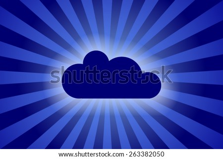 cloud sign on rays background