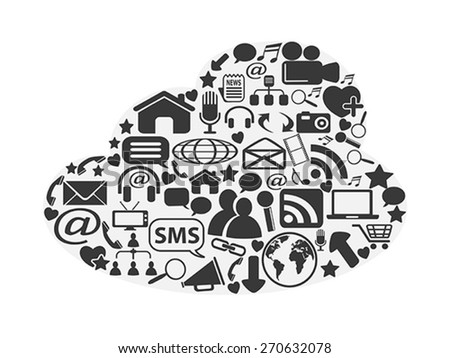 cloud social media icons set - stock vector