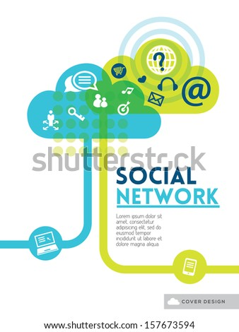Cloud Social Media Network concept background design layout for poster flyer cover brochure - stock vector