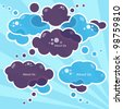 Cloud speech bubbles, vector - stock vector