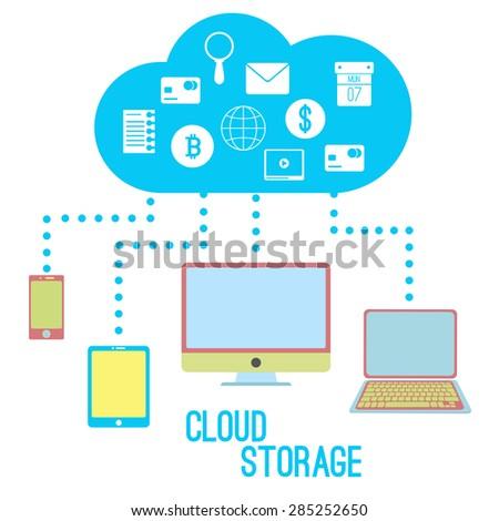 Cloud storage - stock vector