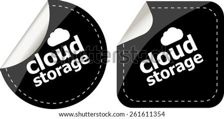 cloud storage - black cloud computing icon stickers set - stock vector