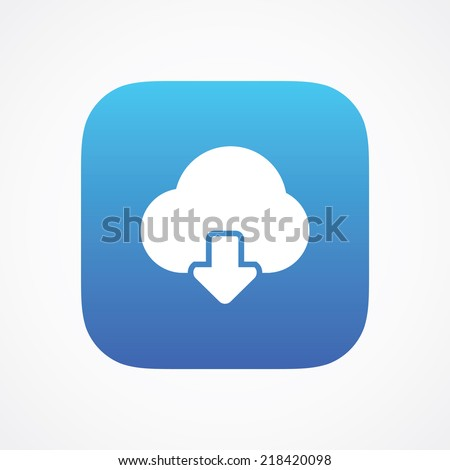 Cloud storage download icon button, vector illustration. Simple flat metro design style. esp10 - stock vector