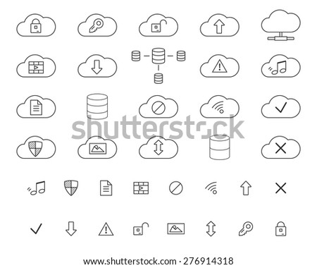 Cloud Storage Icons Set. Outlined. Thin line design for web and mobile app. Cloud technologies. Isolated on white background. Vector illustration - stock vector