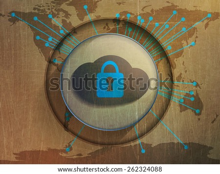 cloud storage, map of the world - stock vector