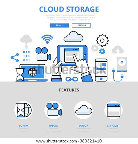 Cloud storage mobile app concept flat line art vector icons. Modern website infographics illustration hero image web banner. Lineart collection.