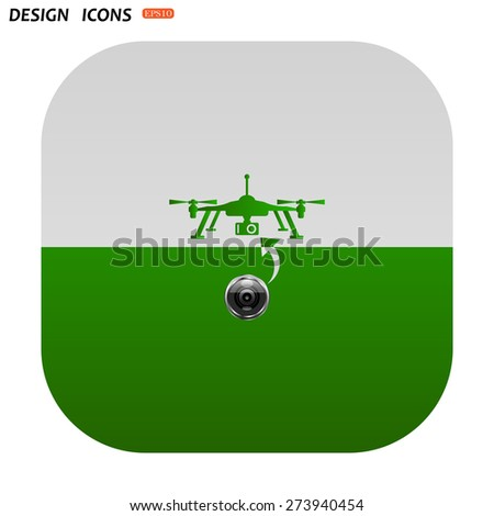 Cloud storage surrounded wi-fi network . icon. vector design Quadrocopter. icon. vector design - stock vector