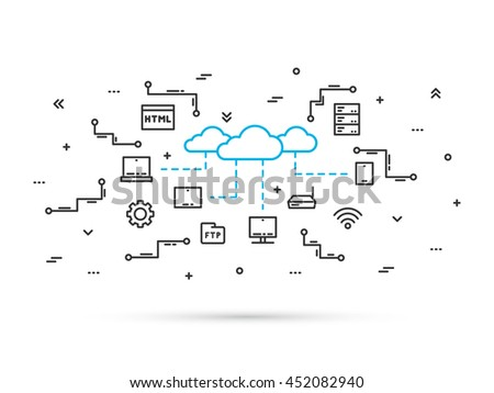 Cloud storage technology line vector illustration. Network communication between digital devices (desktop, router, phone, tablet, laptop) concept. Cloud data infrastructure line art design. - stock vector