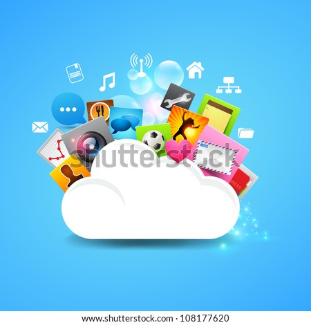 Cloud Storage Vector, layered vector design. - stock vector