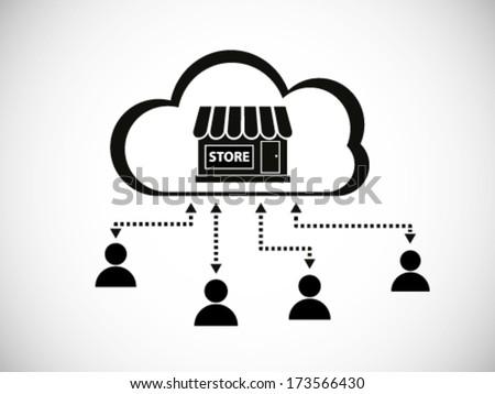 Cloud Store Illustration - stock vector