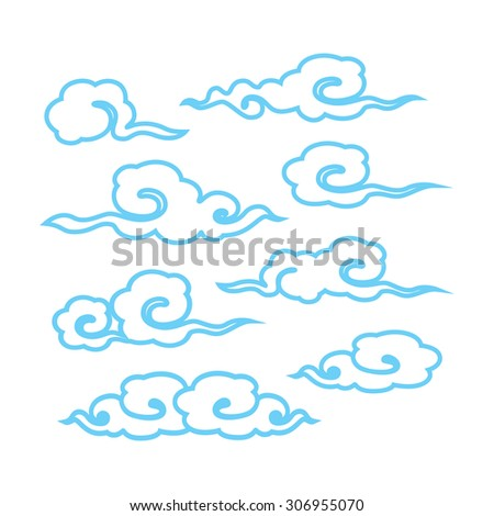 Cloud style chinese on white background. Icon symbol design. Vector illustration.