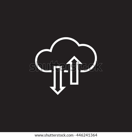 cloud sync line icon, outline vector illustration, linear pictogram isolated on black - stock vector