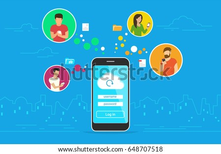 Cloud synchronization concept design. Flat vector illustration of men and women in circle icons using smartphone mobile app for synchronizing data with cloud server via app. Sync technologies banner