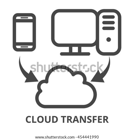 Cloud synchronization icon. Collect online information from computers, laptops, smartphones. Cloud services - gathering and processing data. Internet data sync - outline isolated vector illustration