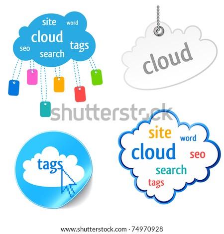cloud tag icon - keywords, seo, search,website - stock vector