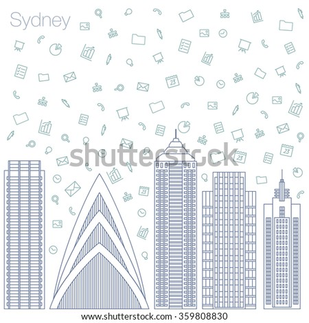 Cloud technologies and services in the world wide web. Hackathon, workshop, seminar, lecture in the metropolis Sydney. The city is in a flat style for presentations, posters, banners. - stock vector