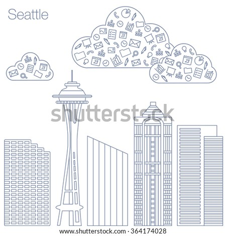 Cloud technologies and services in the world wide web. Hackathon, workshop, seminar, lecture in the metropolis Seattle. The city is in a flat style for presentations, posters, banners. - stock vector