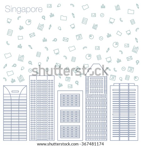 Cloud technologies and services in the world wide web. Hackathon, workshop, seminar, lecture in the metropolis Singapore. City is in flat style for presentations, posters, banners. Vector illustration - stock vector
