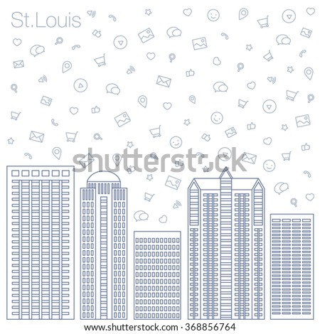 Cloud technologies and services in the world wide web. Hackathon, workshop, seminar, lecture in the metropolis St.Louis. City is in flat style for presentations, posters, banners. Vector illustration  - stock vector