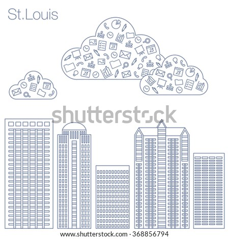 Cloud technologies and services in the world wide web. Hackathon, workshop, seminar, lecture in the metropolis St.Louis. City is in a flat style for presentations, posters, banners. Vector illustrator - stock vector